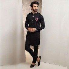 Black Stylish Kurta With Pocket Contrast And Trouser