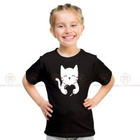 Cat Heart Black Kids Girl T-Shirt