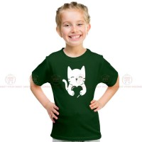 Cat Heart Green Kids Girl T-Shirt