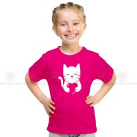 Cat Heart Pink Kids Girl T-Shirt