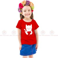 Cat Heart Red Kids Girl T-Shirt