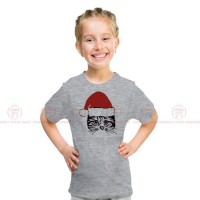 Christmas Cat Grey Kids Girl T-Shirt