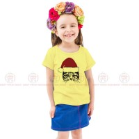 Christmas Cat Yellow Kids Girl T-Shirt