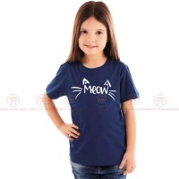 Meow Blue Kids Girl T-Shirt