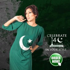 Pakistan Flag Logo Kurti For Women's