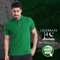 Green Half Sleeves Polo T-Shirt For Men's