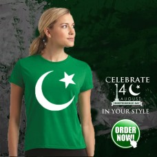 Pak Logo Green Half Sleeves Round Neck T-Shirt For Women