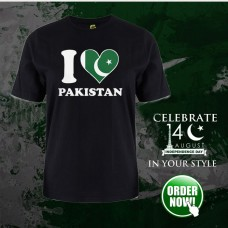 I Love Pak Black Half Sleeves Printed T-Shirt