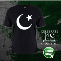 Pak Logo Black Half Sleeves Printed T-Shirt