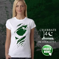 14 August White Half Sleeves Stylish Design T-Shirt
