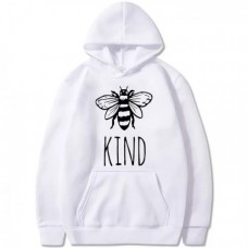 Bee Kind White Pullover Hoodie For Ladies