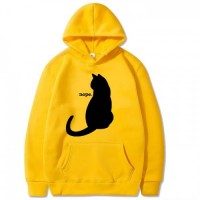 BlackCat Yellow Pullover Hoodie For Girls
