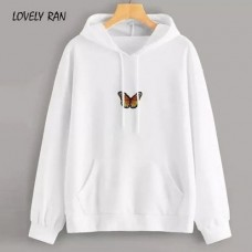 Butterfly White Pullover Hoodie For Girls