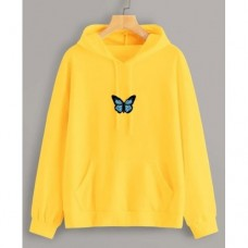 Butterfly Yellow Pullover Hoodie For Ladies