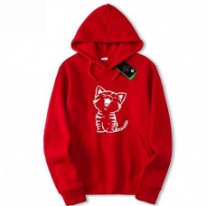 Cat Logo Pullover Red Hoodie For Girls