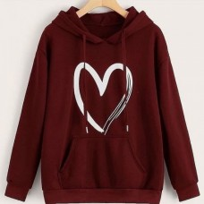 Heart Maroon Pullover Hoodie For Girls
