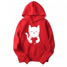Love Cat Good Quality Red Hoodie For Ladies