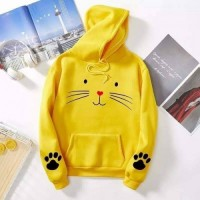 Meow Yellow Printed Hoodie For Girls