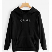 Oh Yes Black Pullover Hoodie For Girls