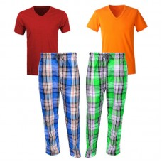 Bundle Of 2 Casual Pajamas And Two V Neck T-shirts
