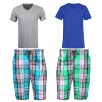 Bundle Of 2 Casual Shorts with 2 V Neck T-Shirts