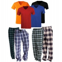Bundle Of 4 Casual Trousers with 4 V Neck T-Shirts