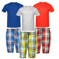 Bundle Of 3 Casual Shorts with 3 Round Neck T-Shirts