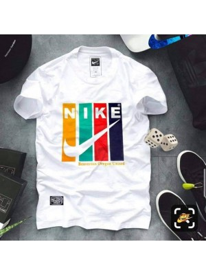 Nike White Half Sleeves Round Neck Printed T-Shirt For Men's