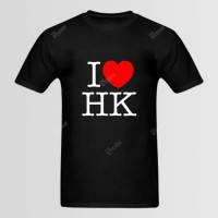 I Love HK Printed Round Neck T-Shirt