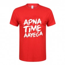 Apna Time Ayega Printed Round Neck T-Shirt in Red