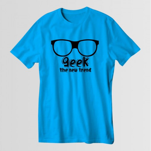 Geek Printed Round Neck T-Shirt in Turquoise