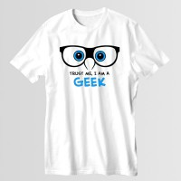 Geek Printed Round Neck T-Shirt in White D 2