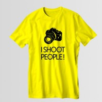 I Shoot People Printed Round Neck T-Shirt in Yellow