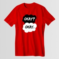 Okay Okay Printed Round Neck T-Shirt in Red