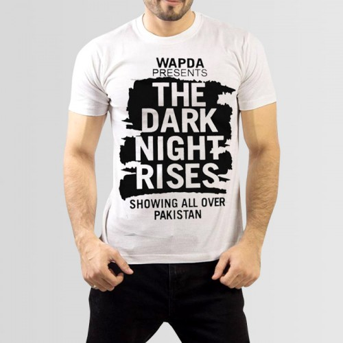 The Dark Night Printed Round Neck T-Shirt in White
