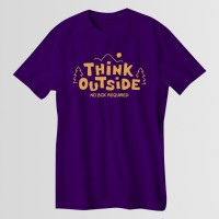 Think Outside Printed Round Neck T-Shirt in Purple
