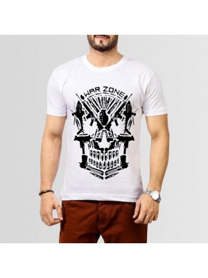 War Zone Printed Round Neck T-Shirt in White