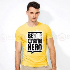 Be Your On Hero Round Neck T-Shirt in Yellow