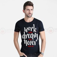 Work Hard Printed Round Neck T-Shirt in Black