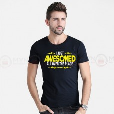 Awesome Printed Round Neck T-Shirt in Black