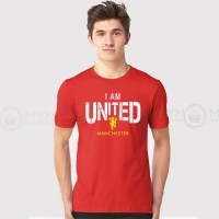 I Am United Printed Round Neck T-Shirt in Red