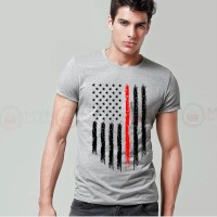 American Flag Printed Round Neck T-Shirt in Grey