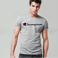 Champion Printed Round Neck T-Shirt in Grey