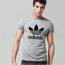 Adidas Printed Round Neck T-Shirt in Grey