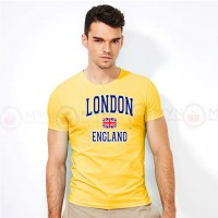 London England Round Neck T-Shirt in Yellow