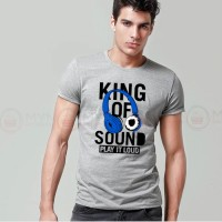 King Of Sound Printed Round Neck T-Shirt in Grey