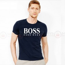 Boss Printed Round Neck T-Shirt in navy Blue