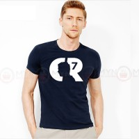CR7 Printed Round Neck T-Shirt in Navy Blue