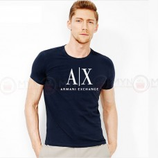 A X Printed Round Neck T-Shirt in Navy Blue