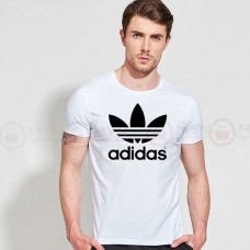 Adidas Printed Round Neck T-Shirt in White